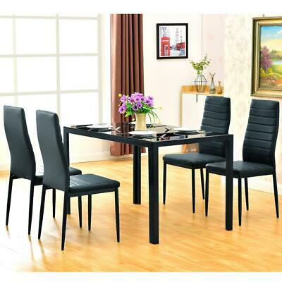5 Piece Dining Table Set 4 Chair Glass Metal Kitchen Room Breakfast Furniture US