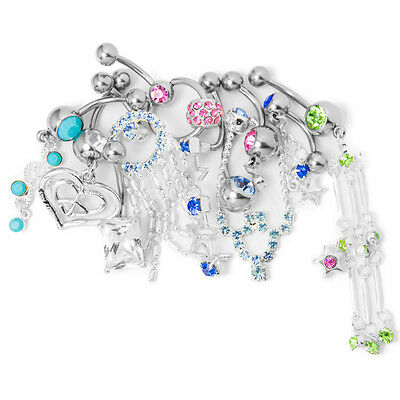 Wholesale Random Belly Button Ring 10 Pack CZ Gem Fancy Dangle Charm Classy 14G Czs Dangle Belly Ring