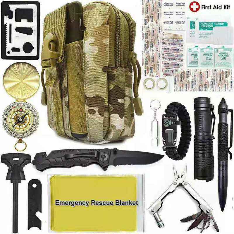 Camping Survival Kit 40 in 1 Outdoor Military Tactical Backpack Emergency Gear