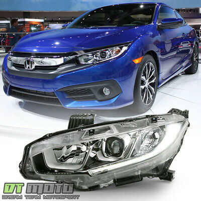 For Halogen 2016 2017 2018 Honda Civic Projector Headlight Headlamp Driver Side