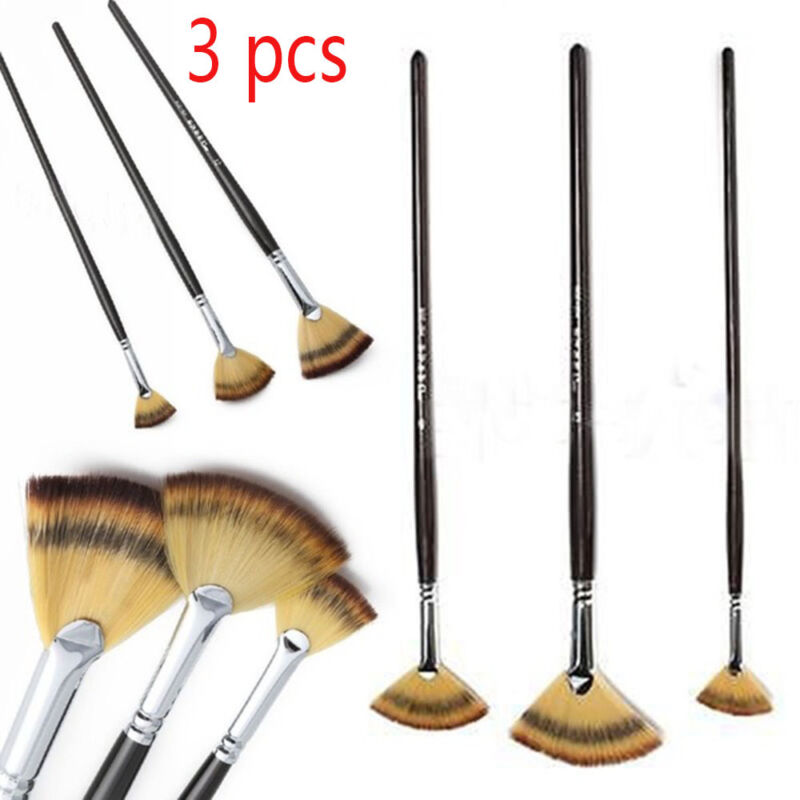 Fan Brush Pen for Oil Acrylic Water Painting Artist Wooden Handle Tools Pop 3pcs