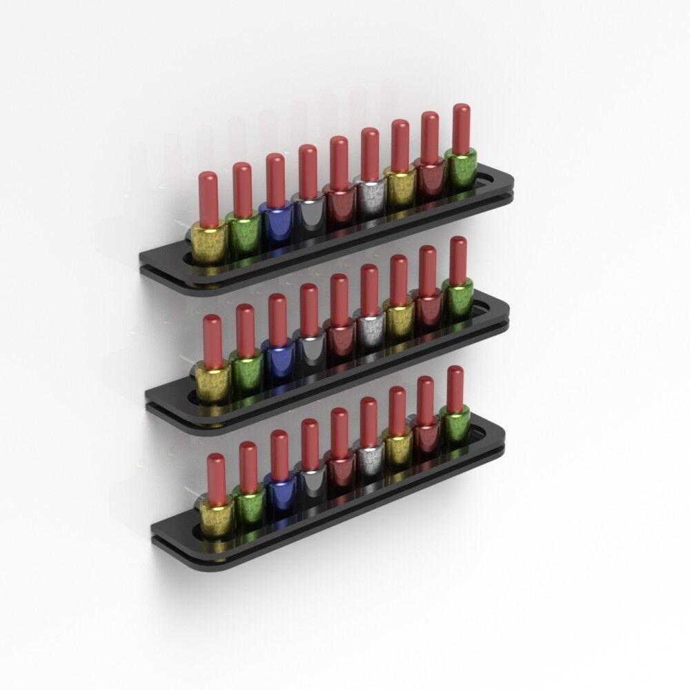 Details about Wall Mounted Black Acrylic Nail Polish Display Shelf Nail Varnish Bottle Holder
