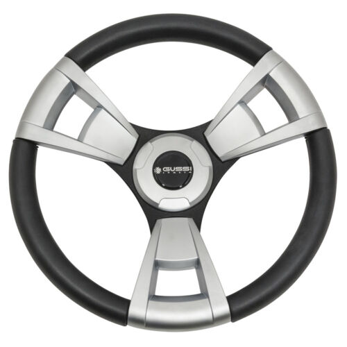 """Gussi Italia """"Model13"""" Black and Brushed Steering Wheel for EZGO TXT / RXV"""