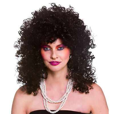 Boogie Babe Lang Lockig Dauerwelle Afro Perücke 80er Disco Diva Damen - Afro Diva Kostüm