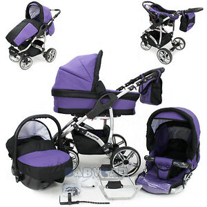 Baby-Travel-System-Swivel-Wheel-Pram-Pushchair-Car-seat-3in1-stroller-Buggy