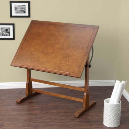 """Adjustable Vintage Drafting Table 42"""" Drawing Base Architect Oak Finish Wood New"""