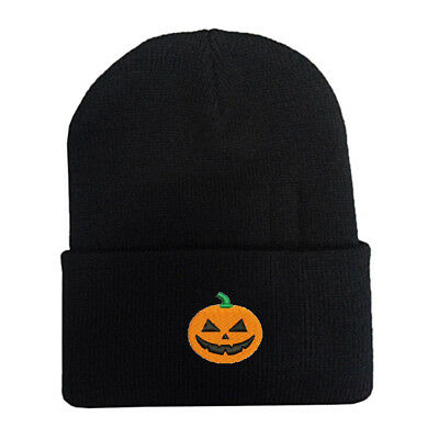 Happy Halloween Pumpkin Face Logo Stitched Embroidered Beanie Cap - Happy Pumpkin Face