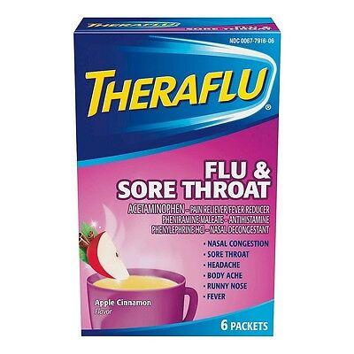 TheraFlu Flu - Sore Throat Powder, Apple Cinnamon Flavor ...