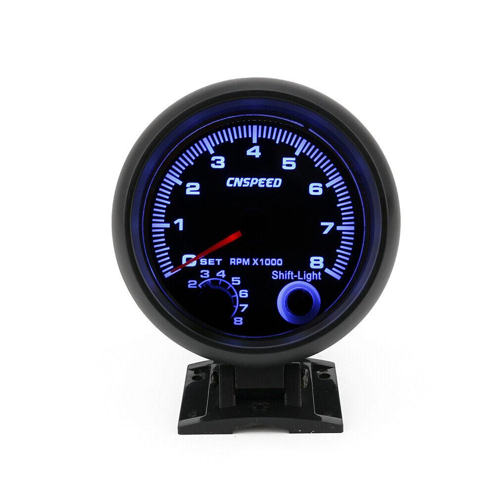 3.75''  Blue LED Car Tachometer Gauge Shift Light Racing 0-8000 RPM Meter Black
