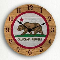 California State Flag Traditional Western Style 12 Silent Wall Clock