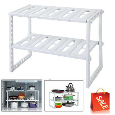 2 Tier Under Sink Cabinet Organizer Storage Rack Expandable Kitchen Bath Shelf