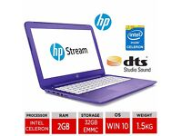 "*NEW* PURPLE HP STREAM 13.3"" LAPTOP 32GB SSD WINDOWS 10 HDMI HP RENEW PROGRAM 12 MONTHS HP WRNTY"