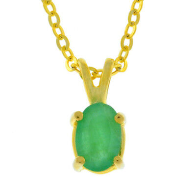 (Natural Emerald 6x4mm Oval Pendant 14Kt Yellow Gold Plated Over Sterling Silver)