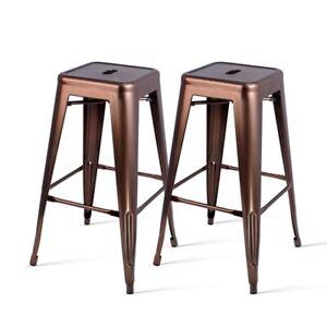 2 x Metal Steel Bar Stool Replica Xavier Cafe Home Kitchen Bar Chair 76cm Bronze