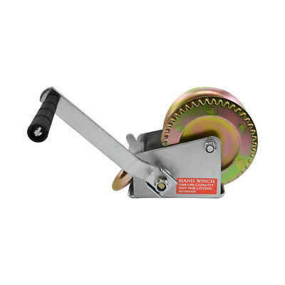 - 26 Ft Cable Drop Forged Gear Hand Winch W/ Latch Hook Cap. 1200 Lbs Crank Boat