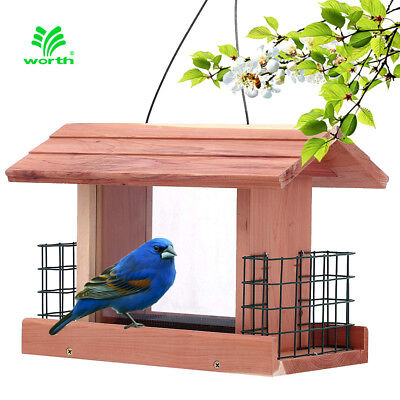 Songbird Essentials BIRD FEEDER Handmade Cedar Wooden Outdoor Tree Hanging Patio