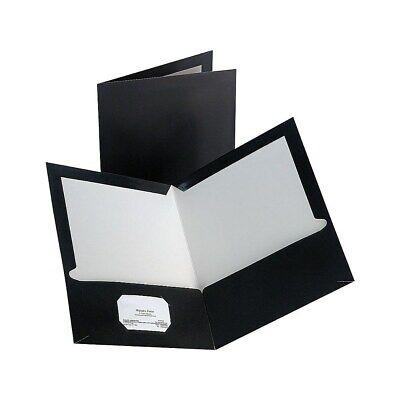 Staples 2-Pocket Laminated Folders Black 10/Pack 905473