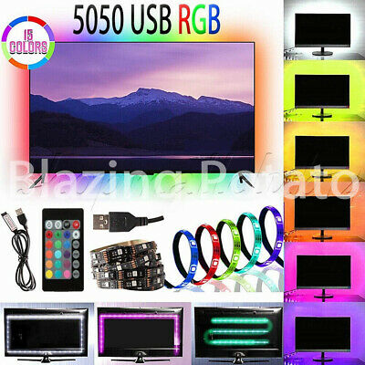4x 50cm RGB LED Strip Light Changing USB TV PC Back Mood Lighting Remote Kit