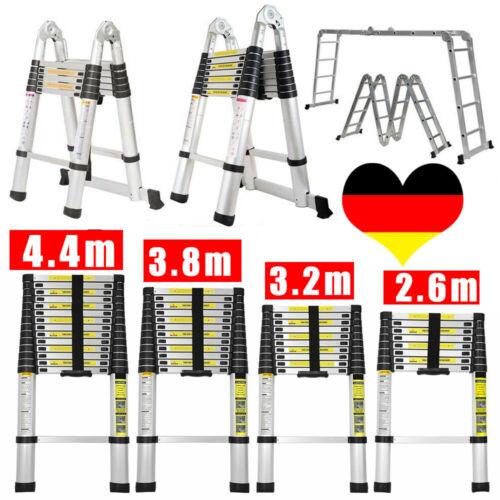 2.6m - 5m Teleskopleiter Multifunktionsleiter Aluleiter Klappleiter Anlegeleiter