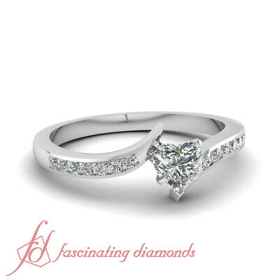Swirl Channel Set Engagement Ring 0.60 Ct Heart Shaped E-Color Diamond VS2 GIA