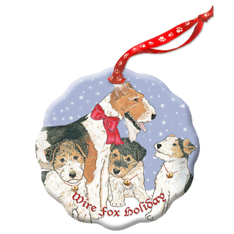 Fox Terrier Wire Holiday Porcelain Christmas Tree Ornament