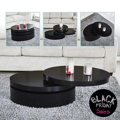 Extendable Coffee Table (Modern Black Coffee Table Round Rotating Contemporary Living Room)