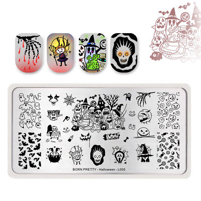 Nail Art Designs Halloween (BORN PRETTY Nail Art Stamping Plates Pumpkin Witch Candy Halloween Day)