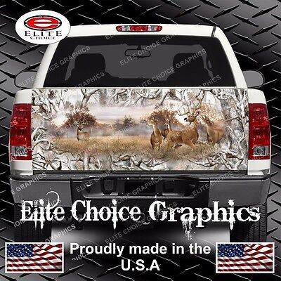 Whitetail Buck Deer Buck Snow Camo Truck Tailgate Wrap Vinyl Graphic Decal Wrap