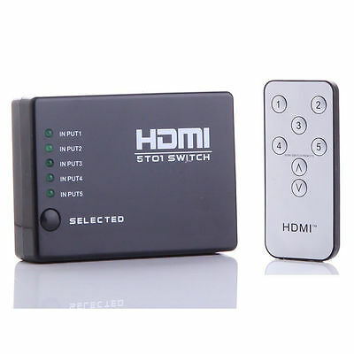 5 Port 1080p HDMI Switch Switcher Selector Splitter Hub iR Remote For HDTV PS3 on Rummage