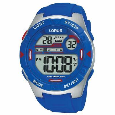 Lorus Hombre Digital Reloj Con Eléctrico Azul Silicona Suave Correa (R2301NX9)