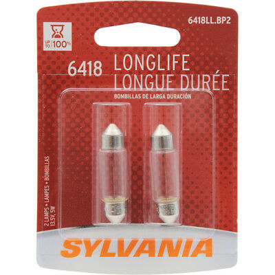 - License Light Bulb-Long Life Blister Pack Twin SYLVANIA 6418LL.BP2