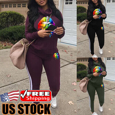Women's Sport Tracksuit 2 Piece Set Hooded Jacket Sweatshirt Tops Pants Set Suit 2 Piece Jacket Pants