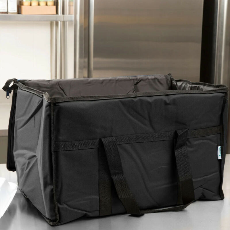 """Choice Insulated Food Delivery Bag / Pan Carrier, Black Nylon, 23"""" x 13"""" x 15"""""""