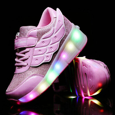 Youth Girls Sport Roller Skate Shoes Kids Rechargeable LED Wheel Mesh Sneakers
