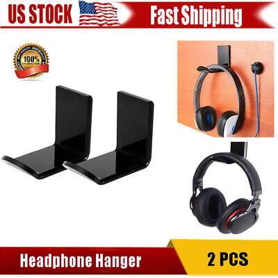 2 Pcs Headphone Hanger Display Holder Acrylic Hook Under Desk Headset Wall Mount