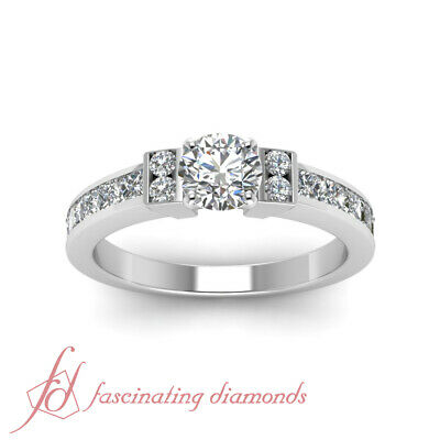 1.80 Ct Channel Set Wedding Ring With Round Cut Diamond In 14K White Gold GIA 1