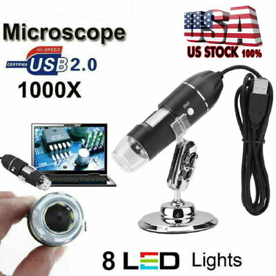 8 Leds Microscope 1000x 0.3mp Usb Magnifier For Computer With Holder