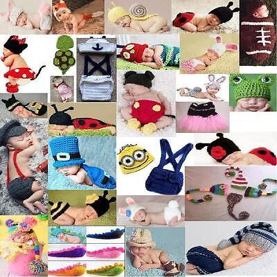 Newborn Baby Girl Boy Crochet Knit Costume Photo Photography Prop Hats Outfits ()