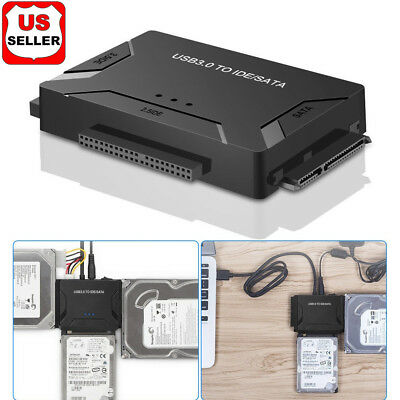 "USB 3.0 to IDE & SATA Converter External Hard Drive Adapter Kit 2.5""/3.5"" Cable"