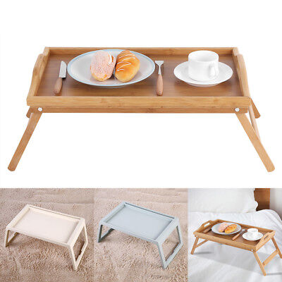 Portable Bed Tray Lap Desk Serving Table Computer Folding Legs Bamboo Plastic (Plastic Lap Tray)