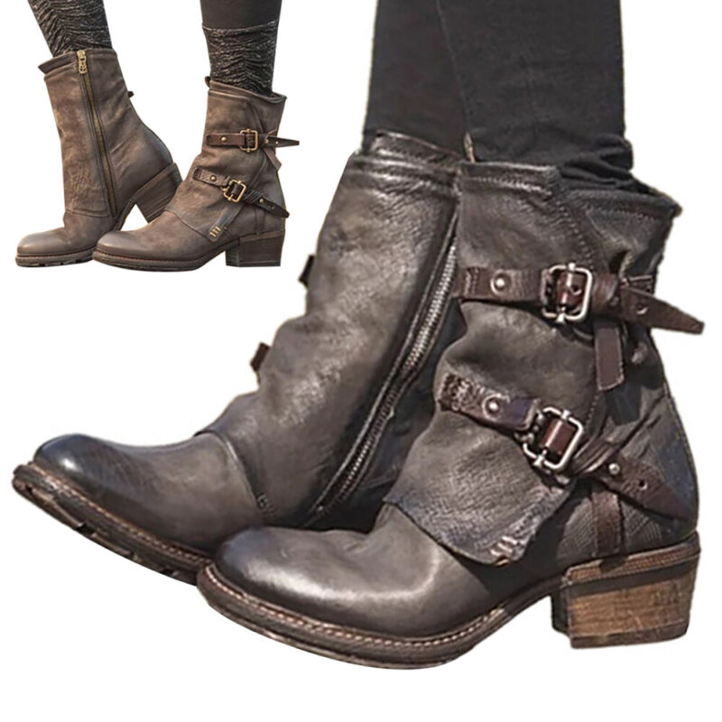 Womens Vintage Combat Military Boots Lace Up Buckle Ladies C