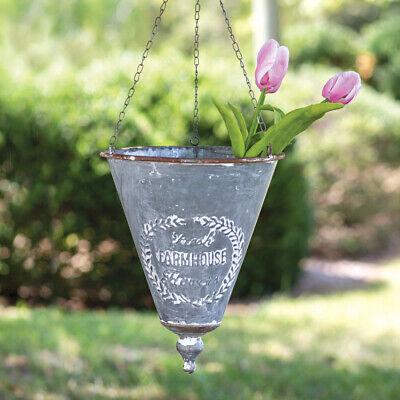 New Primitive Shabby AGED FRESH FARMHOUSE FLOWER POT HANGING Basket Cone Planter