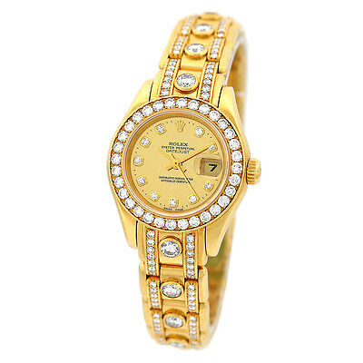 ROLEX 18K Yellow Gold Masterpiece Pearlmaster Factory Super Karat Diamond 69298
