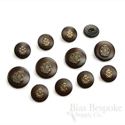 Dark Brown Leather Suit & Coat Buttons with Inset Metal Crests, Made in - Costumes With A Suit