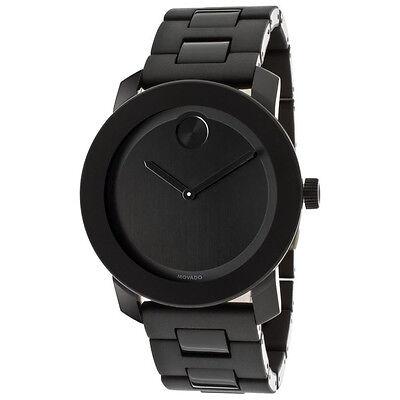 New Movado Bold Large Black Dial Black Bracelet Mens 42mm Watch 3600047
