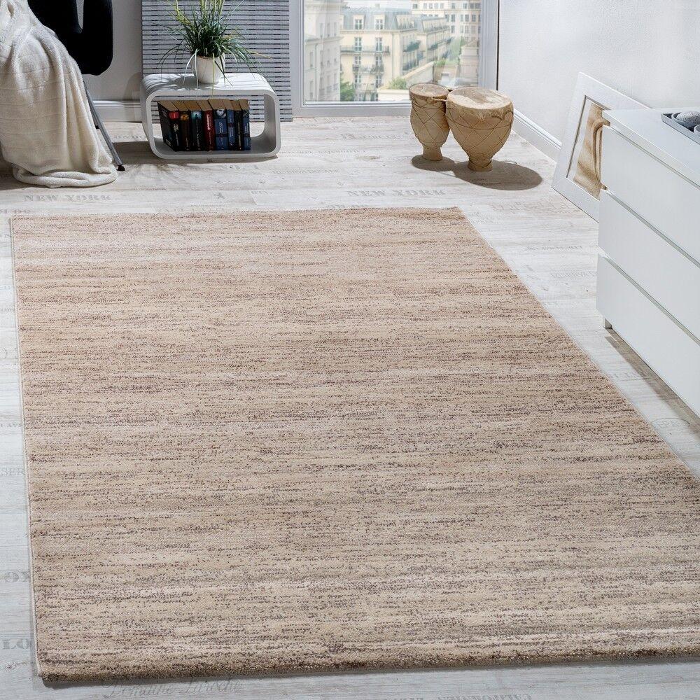Teppich Modern Wohnzimmer Kurzflor Gemütlich Preiswert Meliert In Creme