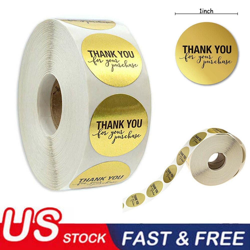 500pcs/Roll Gold Label Stickers Round 1inch THANK YOU for yo