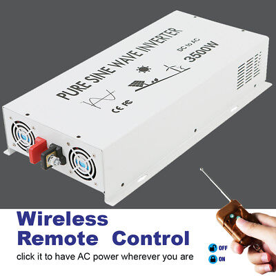 3500Watt Pure Sine Wave Car Power Inverter 12/24V to 120V/220V Remote Control