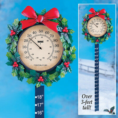Garden Stake Thermometer (Outdoor Metal Stake Decoration Winter Thermometer Christmas Wreath Snow Gauge )