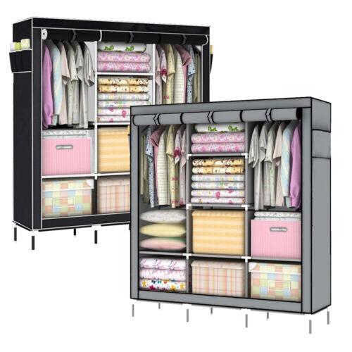 Faltbarer Stoff-Kleiderschrank mit Vliesbezug 175x130x45 cm 2 Farben